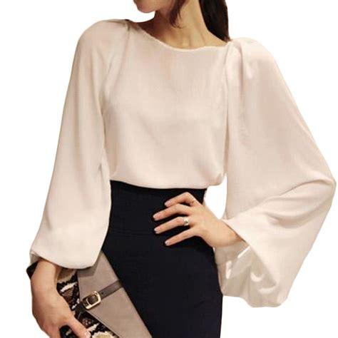 sleeve blouses for autumn 2015 white blouse blusa chiffon office