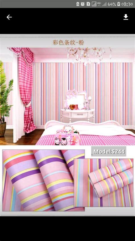 wallpaper kamar pink putih