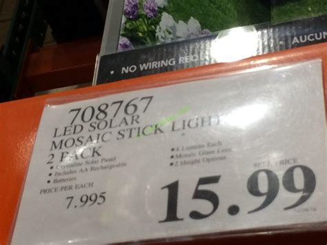 costco  led solar mosaic stick light tag costcochaser