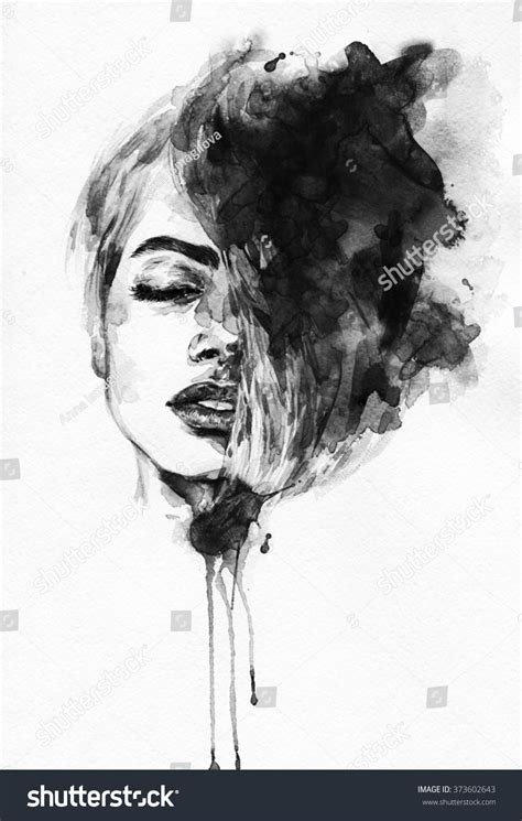 Abstract Black And White Portrait by Portrait Abstract Watercolor Fashion Illustration