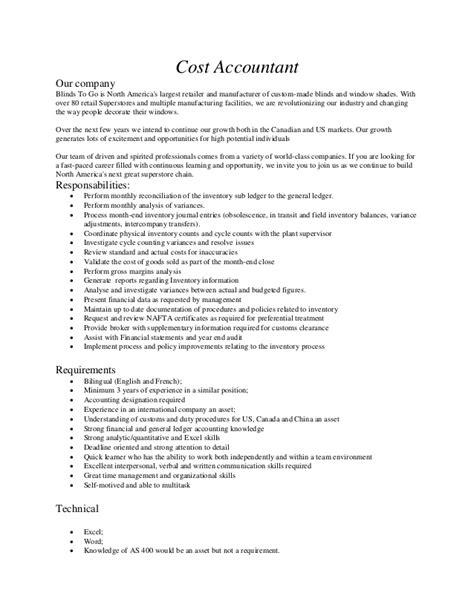 cost accountant description