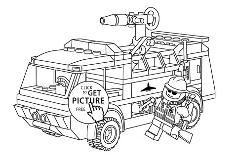Lego Firetruck With Fireman Coloring Page For Kids