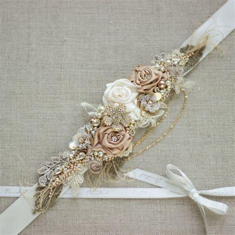 bridal sash burlap rustic gold blush rose chagne