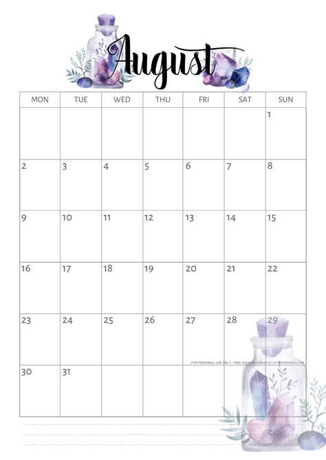 august  calendar printable crystals cute freebies