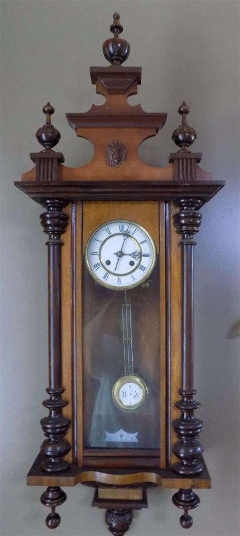 Antique German Wall Clock Walnut Running 43