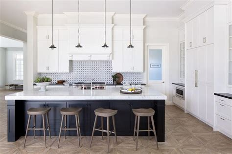 Black Kitchen Island with Gray Wash Wood Barstools