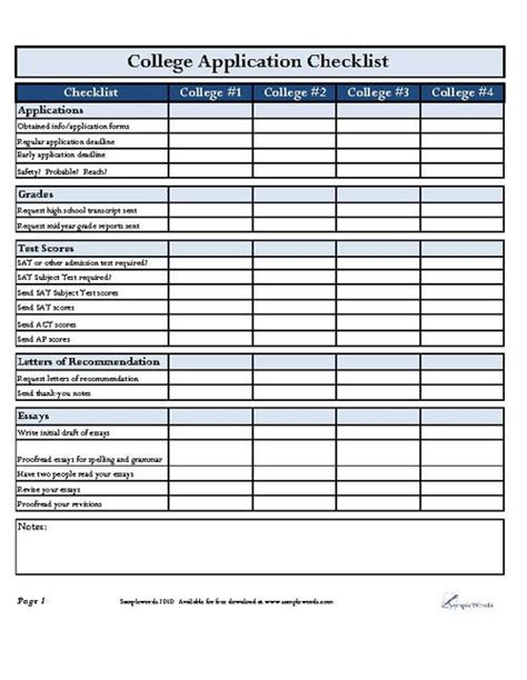 13249 college application template college application checklist college pdf and college