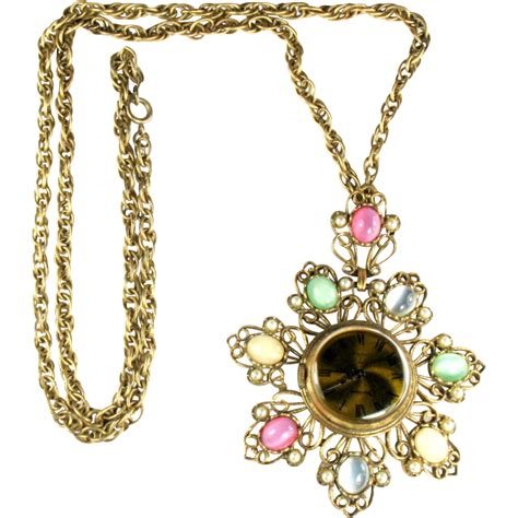 Vendome Pendant Watch Vintage Necklace from