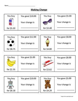 making change worksheet money math worksheets money