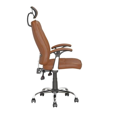 faux leather swivel office chair in light brown lof 699 o