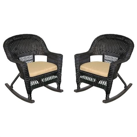 jeco wicker rocker chair in black with cushion set of