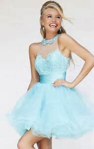 2015 Light Blue Lace Tulle Halter Short Prom Dress Uk