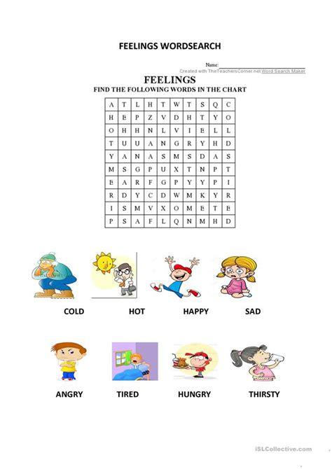 explorers  unit  feelings wordsearch worksheet