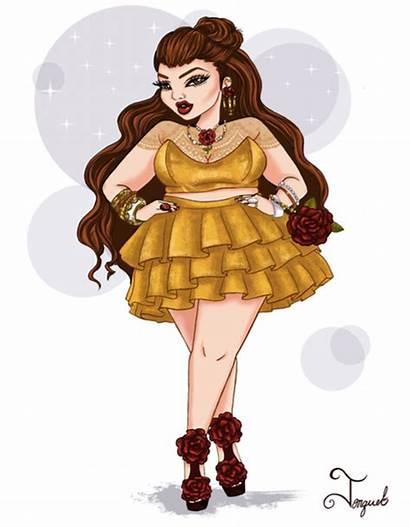 Plus Princesses Disney Fat Curvy Modern Illustrations