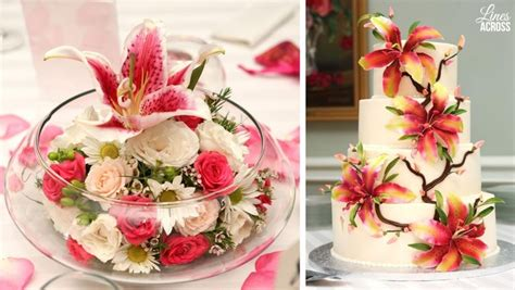 Stargazer Lily Themed Wedding Lily Wedding Cake And