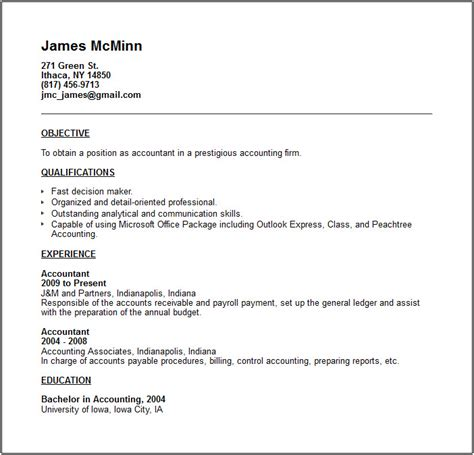 exle resume for accounting position accounting resume exles and career advice