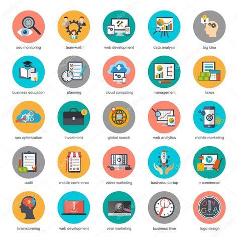 Flat conceptual icons set of seo monitoring and digital ...
