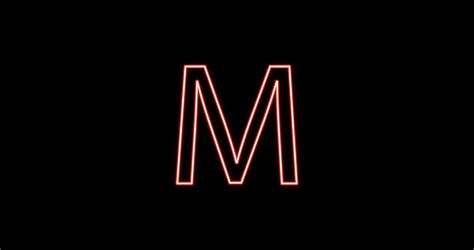 Neon Alphabet M Letter Red Light Icon, Background With