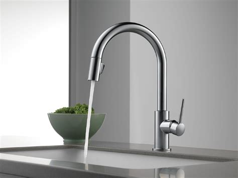 delta 9159 ar dst trinsic single handle pull kitchen faucet stainless faucetdepot