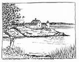 Coloring Pages Lake Island Adult Lighthouse Adults Lighthouses Spring Maine Printable Books Landscape Drawings Beach Sheets Mountain Scenes Landscapes Fairy sketch template