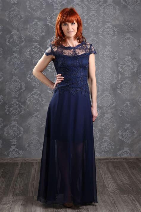 Langes Abendkleid Blau Mit Spitze