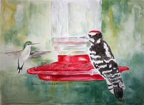 vickie s sketchbook hummingbird and downy woodpecker on