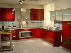 idee couleur cuisine la cuisine rouge et grise With kitchen cabinets lowes with red and black metal wall art