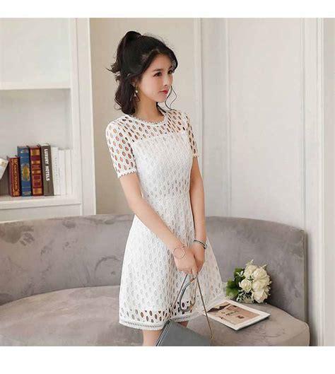 dress putih model terbaru import murah jual model