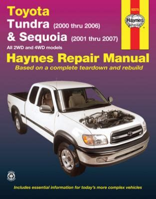 chilton car manuals free download 2002 toyota tundra on board diagnostic system toyota tundra sequoia haynes repair manual 2000 2007 hay92078