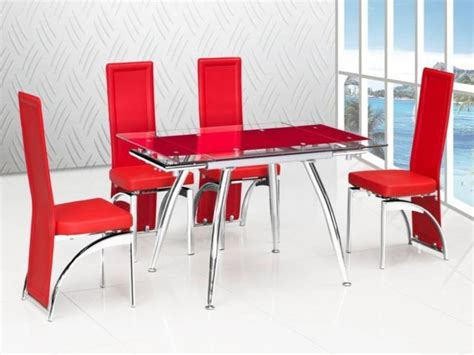 red extending glass dining table  matching chairs homegenies