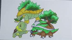 Drawing Pokemon: No.387 Turtwig, No.388 Grotle, No.389 ...