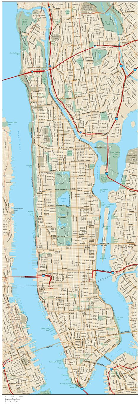 detailed road map  manhattan  street names