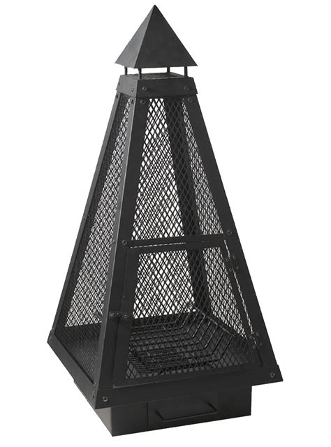 over 1m tall black steel mesh large pyramid chiminea fire