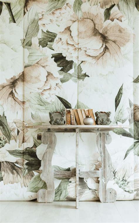 blush floral wallpaper mural etsy vintage floral