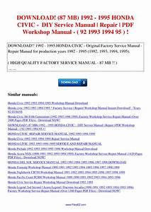 87 Mb 1992 1995 Honda Civic Diy Service Manual Repair