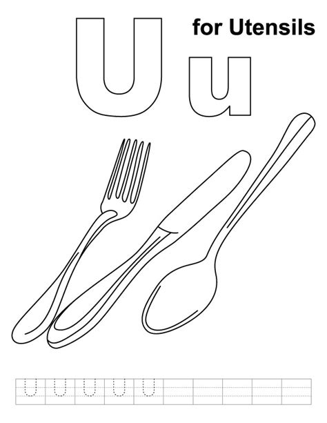 Coloring Utensil by U For Utensils Coloring Page With Handwriting Practice