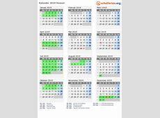 Kalender 2019 + Ferien Hessen, Feiertage