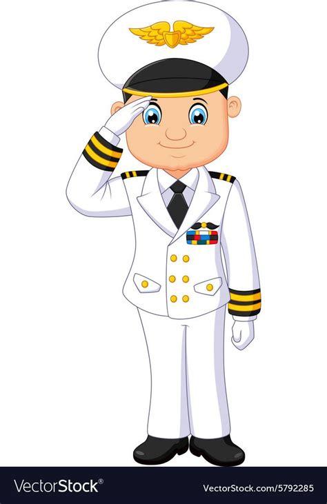 illustration  cartoon captain respectful