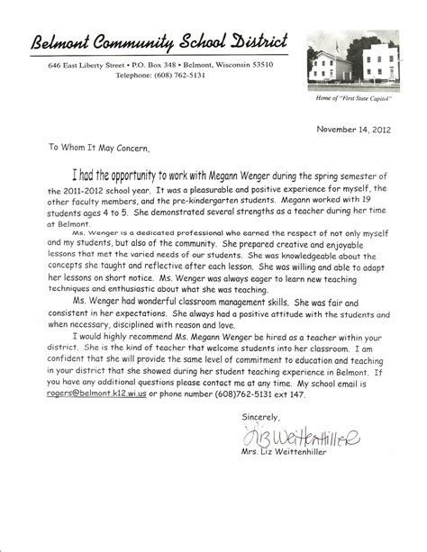 resume letters of recommendation megann wenger s