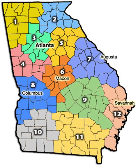georgia counties maps cities towns full color  regions
