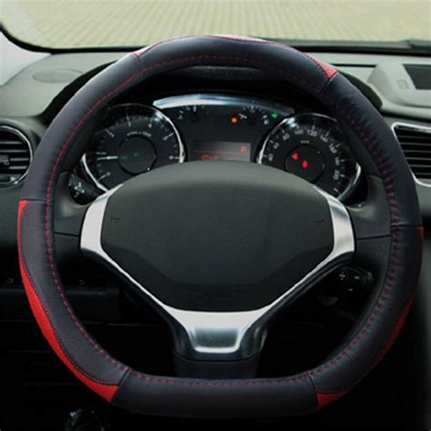 D Type Leather Car Steering Wheel Cover With Needles And