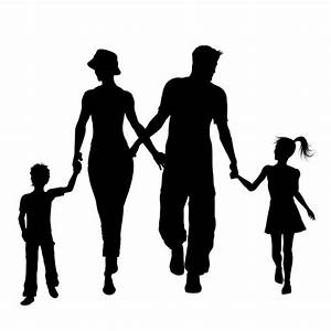 Silhouettes of a family walking Vector | Free Download