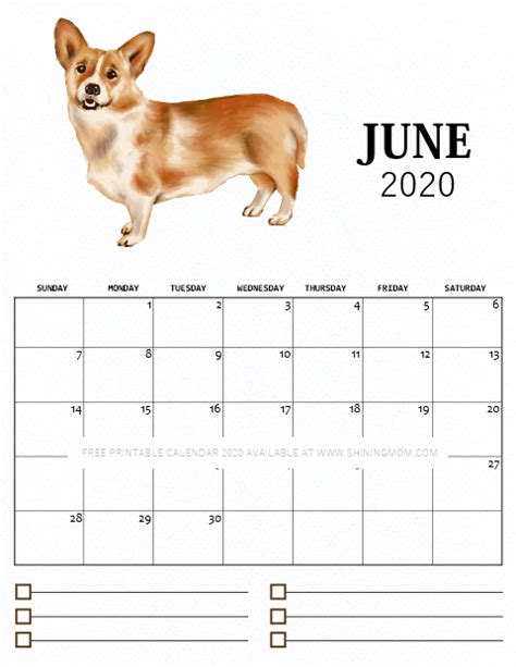printable monthly calendar   cute dog theme