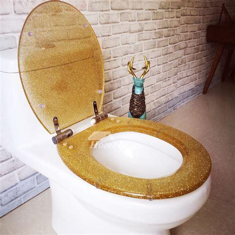 gold luxury fancy decorative glitter oval soft close resin