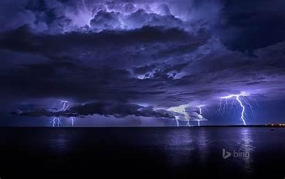 Lightning Sky Night Storm Clouds Sea Lights