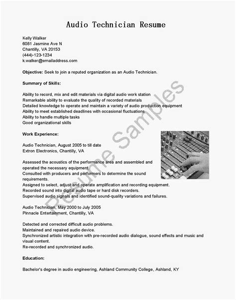 resume sles audio technician resume sle