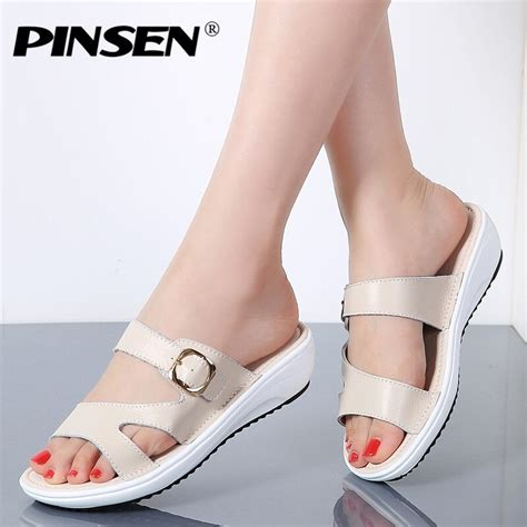 pinsen 2018 summer flat sandals shoes black white slippers toe comfortable