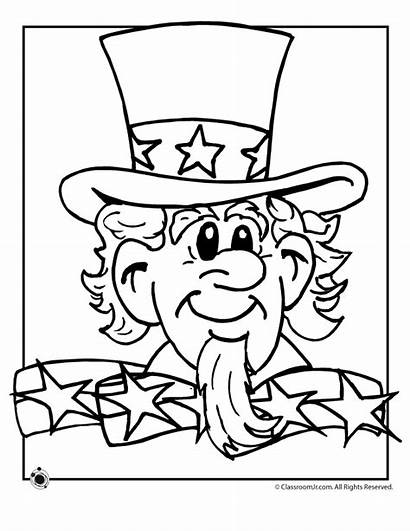 Uncle Sam Coloring Pages Flag Worksheets Printable