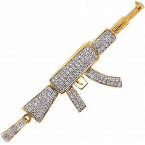 Mens Diamond AK-47 Rifle Gun Pendant 14K Yellow Gold 1.08 ct