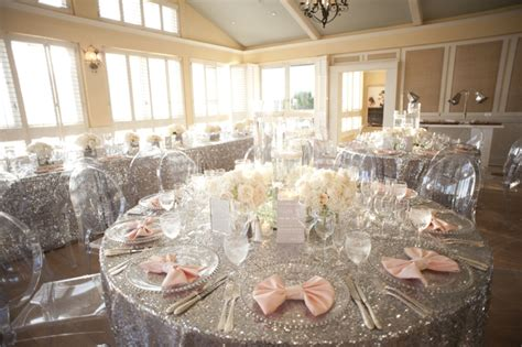 glamorous silver blush beach wedding   detail